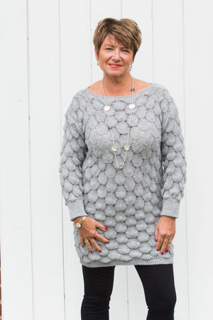 Grey Bubble Knit Jumper