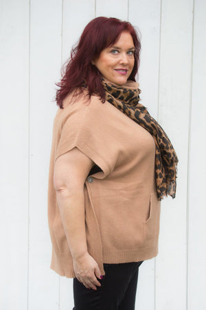 Tan Button Up & Pocket Poncho