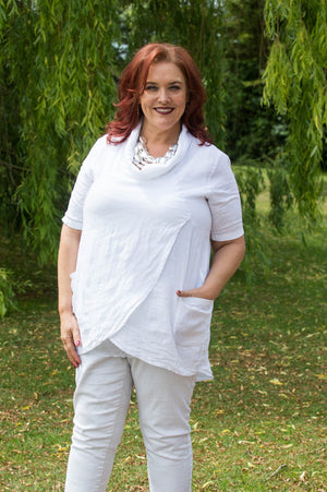 White Linen Cowl Neck Wrap Top