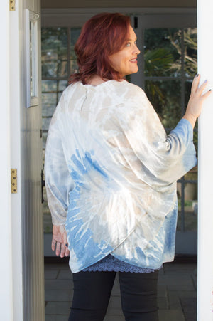 Blue and White Tie Dye Cross Over Tunic - Mandy's Heaven