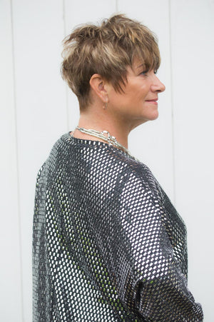 Black & Silver Sparkly Sequin Top