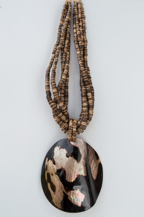 Short Brown Abstract Shell Wooden Necklace