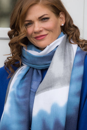 Blue and Grey Watercolour Cotton Scarf - Mandy's Heaven