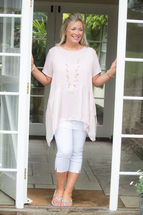 Light Pink Cotton & Silk Detail Top