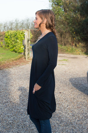 Navy Long Sleeve Skater Top/Dress