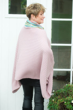 Dusty Pink Roll Neck Chunky Knit