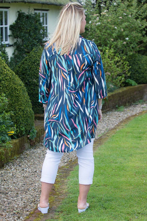 Navy & Turquoise Abstract Print Shirt