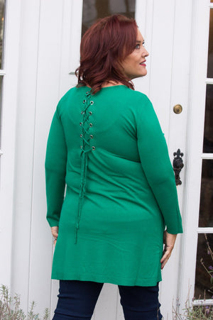 Green Lace-Up Midi Jumper