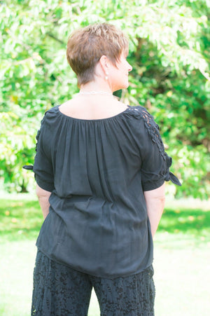 Black Off-The Shoulder Crochet Detail Blouse