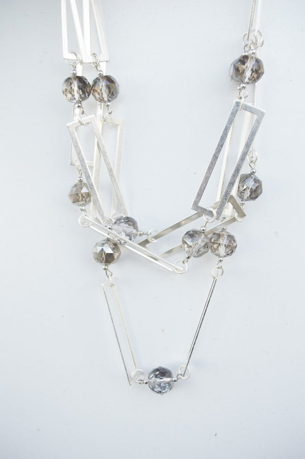 Short Silver Square Chain & Gem Necklace