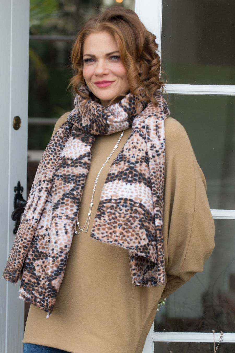 Brown and Tan African Print Scarf - Mandy's Heaven