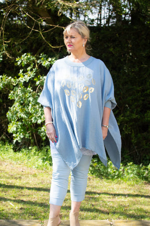 Denim Blue lip Heart Comfort Top