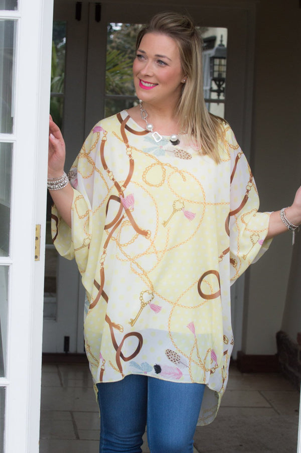 Lemon Chain & Feather Print Polka Dot Blouse