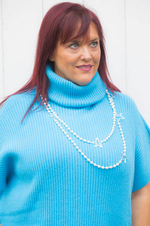 Turquoise Roll-Neck Button Poncho