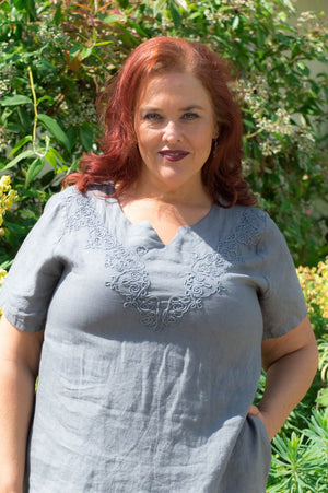 Charcoal Linen V Neck Stitch Tunic
