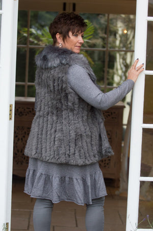 Grey Luxury Hand Knitted Faux Fur Gilet