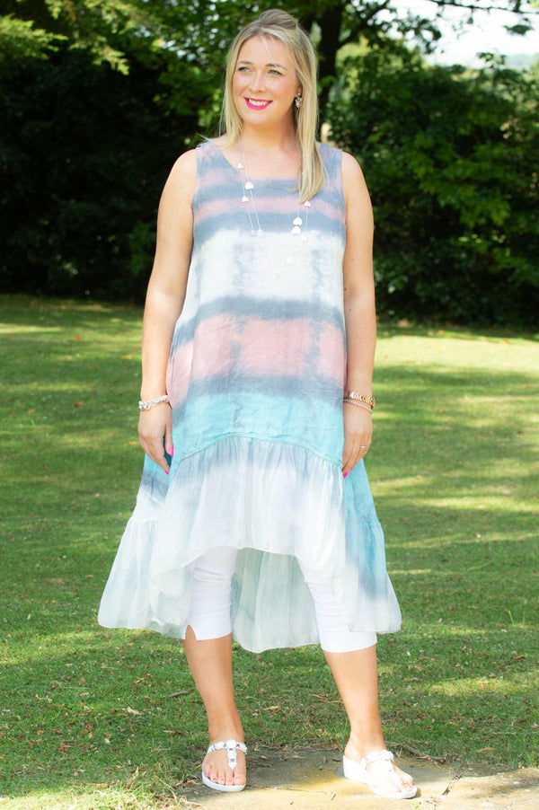 Grey & Pink Tie-Dye Waterfall Dress/Top