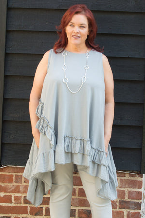 Grey Cotton Ruffle Top