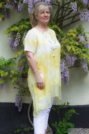 Lemon Tie Dye Silk Detail Waterfall Long Top