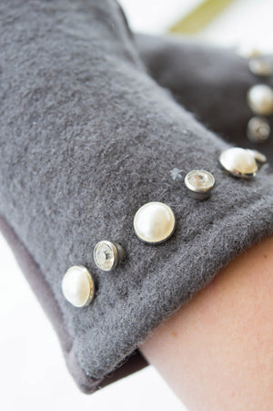 Grey Pearl and Diamante Glove - Mandy's Heaven