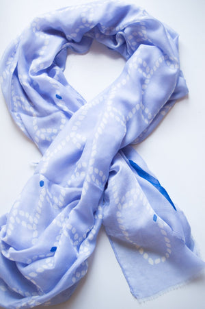 Pastel Blue Rope & Anchor Scarf