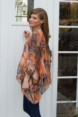 Orange Paisley Waterfall Silk Blouse