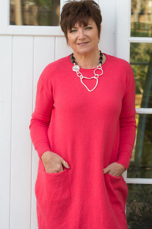 Coral Midi Two-Pocket Valentine Jumper/Dress - Mandy's Heaven