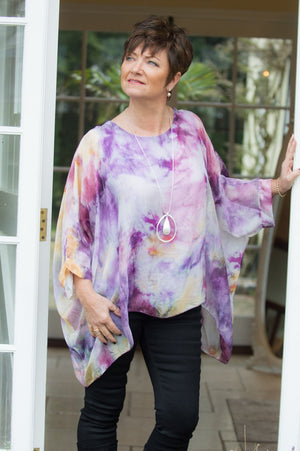 Purple Watercolour Silk Blouse
