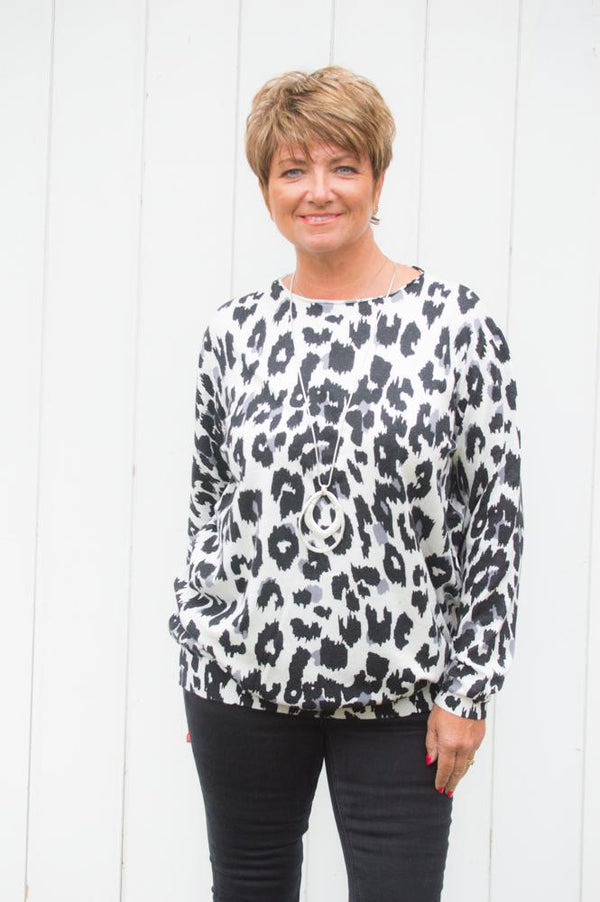 Grey Leopard Print Lightweight Jumper