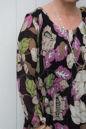 Mauve, Beige and Green Floral Print Pleated Blouse Dress/Top