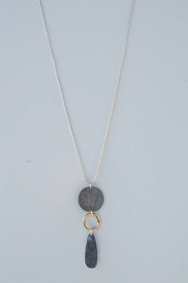 Long Circle Charm Necklace