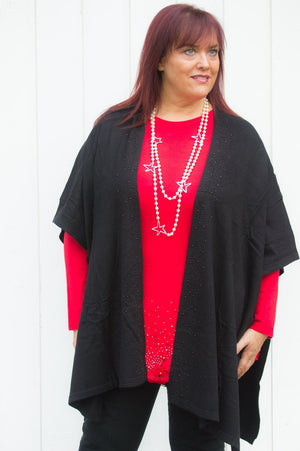 Black Gem Sleeveless Cardigan