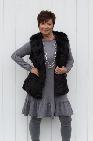 Black Luxury Hand Knitted Faux Fur Gilet - Mandy's Heaven