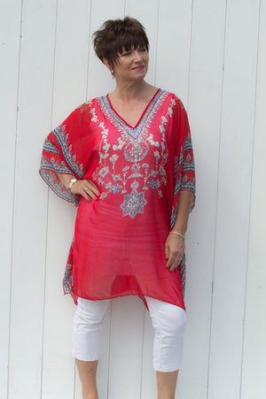 Red & Blue Rachel Kaftan