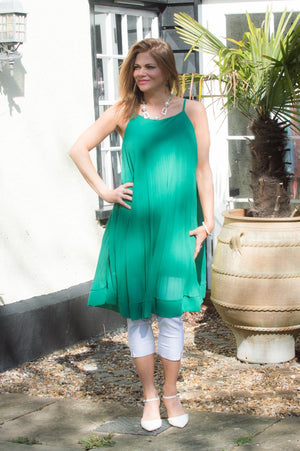 Green Strappy Pleated Top/Dress