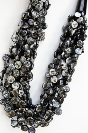 Short Black Clustered Bead Necklace