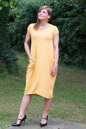 Mustard Basic Pocket Dress