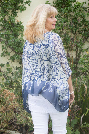 Navy Floral Silk Blouse