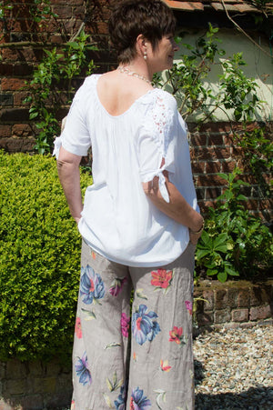 Taupe Floral Linen Trousers