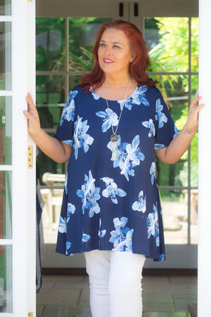 Navy and Light Blue Floral Top