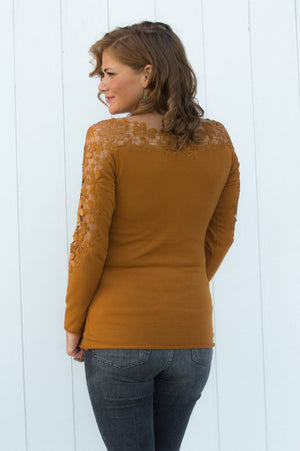 Mustard Short Crochet Detail Jumper