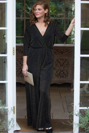 Black and Gold Sparkle Jumpsuit - Mandy's Heaven