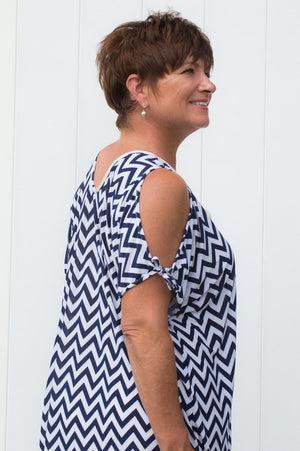Navy and White Aztec Print Cold Shoulder Top