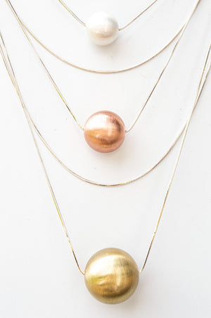 Short Silver, Gold & Rose Gold Bead Necklace