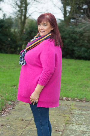 Fuchsia Knitted Batwing Jumper