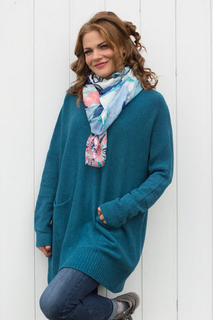 Blue and Coral Glitter Flower Print Scarf - Mandy's Heaven