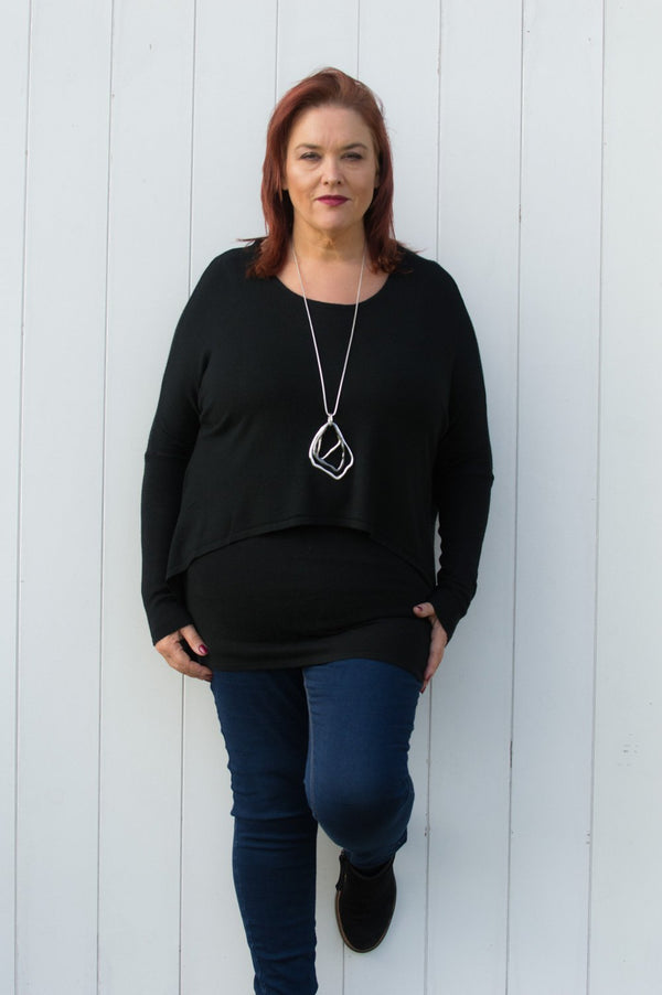 Black Double Layered Waterfall Jumper - Mandy's Heaven