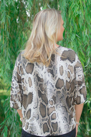 Snake Print Diamante Tie-up Top