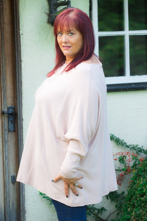 Beige Ribbed Batwing Jumper