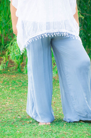 Curve 100% Silk Blue Floaty Trousers